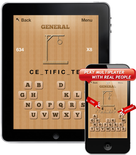 Hangman Pro+ word puzzle game for iPhone, iPad